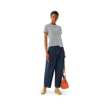 LOEWE Stripe Asymmetric T-Shirt Marino/Blanco front