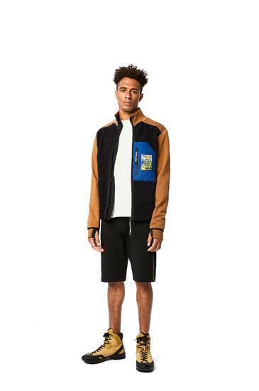 LOEWE High neck fleece jacket in cotton Black/Camel pdp_rd