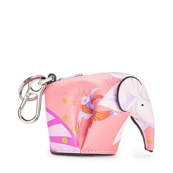 LOEWE Elephant Charm In Waterlily Classic Calfskin Pink front