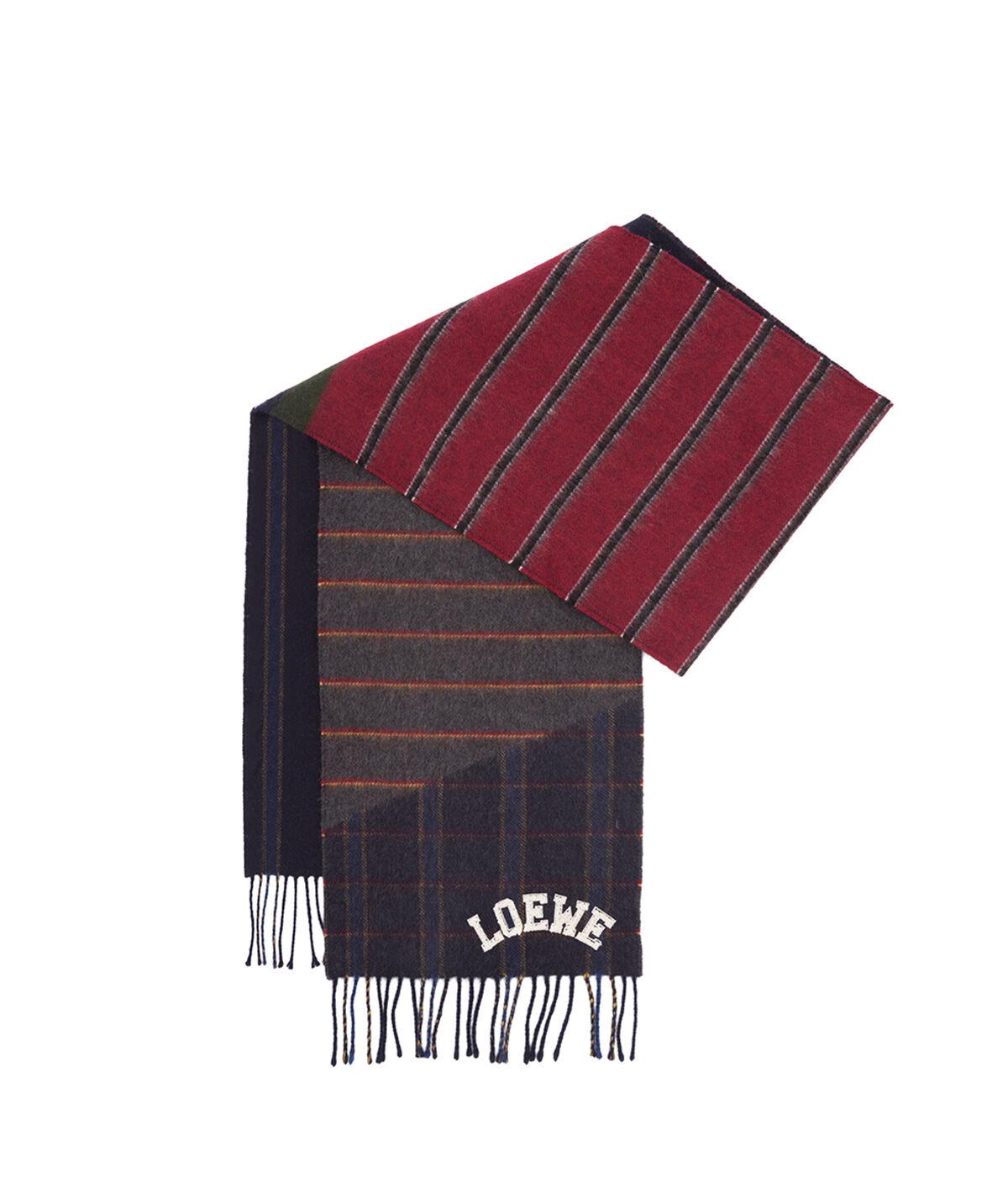 LOEWE 30X180 Scarf Varsity Stripes Azul Oscuro/Rojo Oscuro/Oro all