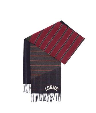 LOEWE 30X180 Scarf Varsity Stripes Azul Oscuro/Rojo Oscuro/Oro front