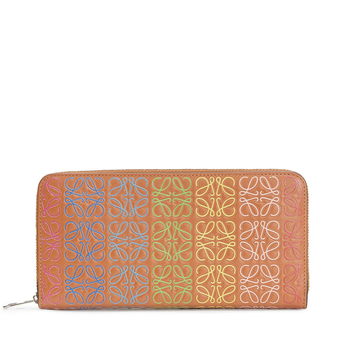 LOEWE Repeat Zip Around Wallet Tan/Multicolor front