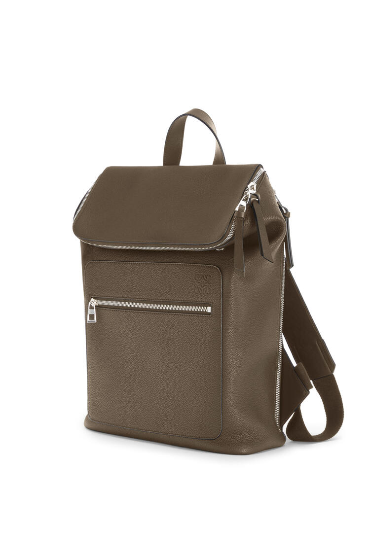 LOEWE Slim Goya Backpack in soft grained calfskin Dark Moss pdp_rd