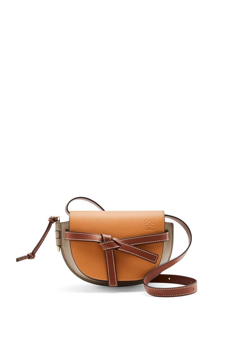 LOEWE Mini Gate Dual bag in soft calfskin Amber/Light Grey/Rust Colour pdp_rd