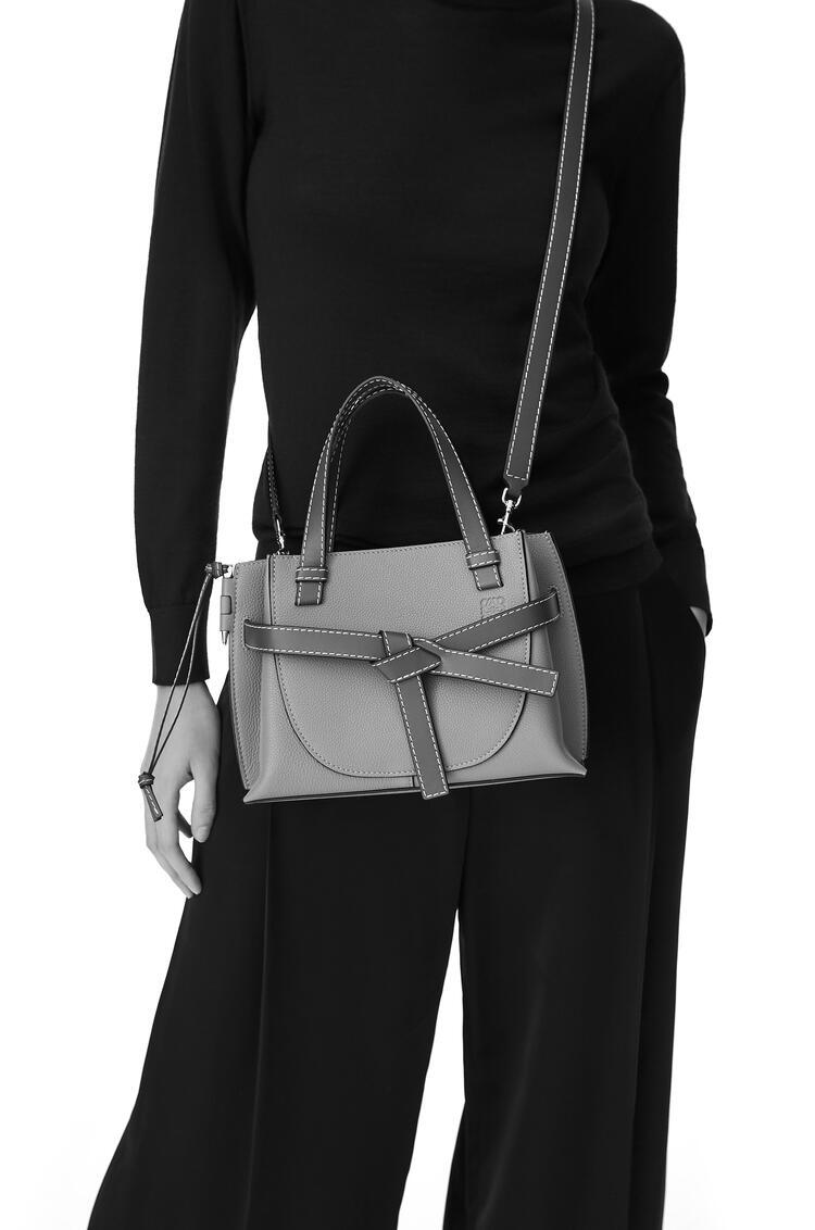 LOEWE Mini Gate top handle bag in pebble grain calfskin Black pdp_rd