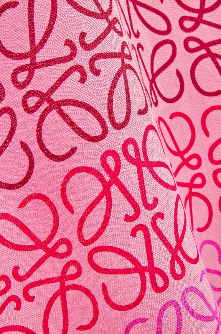 LOEWE Bufanda en lana y cachemira con estampado de Anagramas Rosa/Multicolor pdp_rd