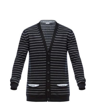 LOEWE Stripe Loewe Cardigan Black/White front