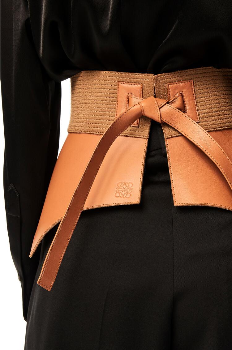 LOEWE Cinturón Obi pegado en lana y napa Bronceado pdp_rd