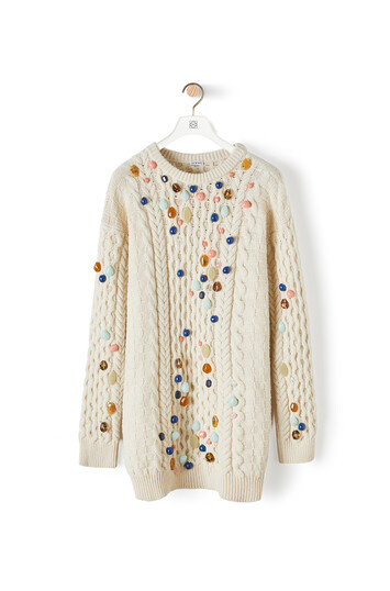LOEWE Cable Knit Sweater With Stones Blanco front