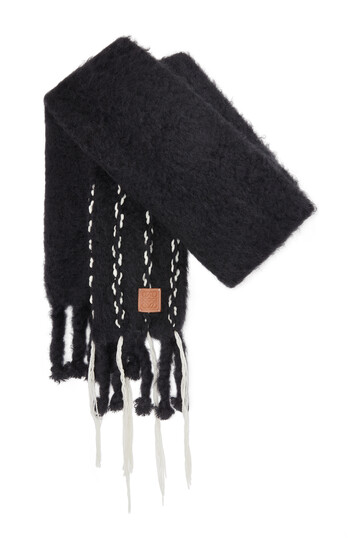 LOEWE 45X230 Scarf Mohair Stitches Black front