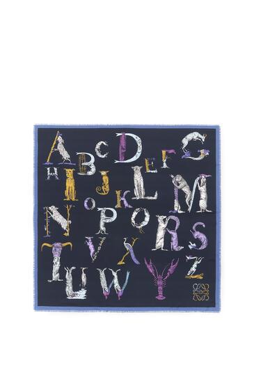 LOEWE 140 x 140 cm 字母真丝围巾 海军蓝 pdp_rd