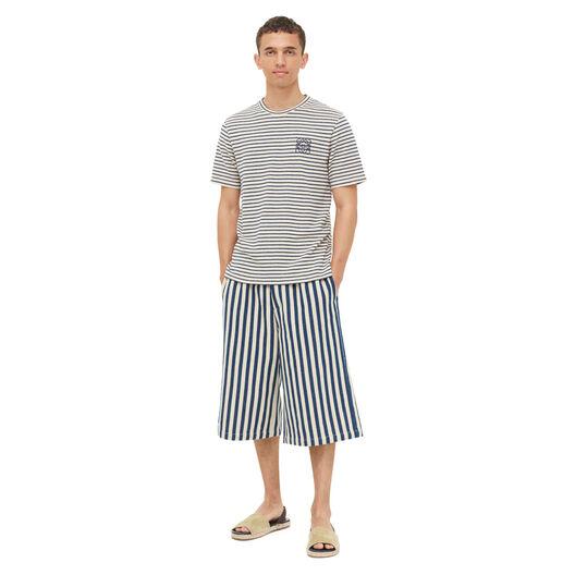 LOEWE Stripe Anagram T-Shirt Navy Blue/Ecru front