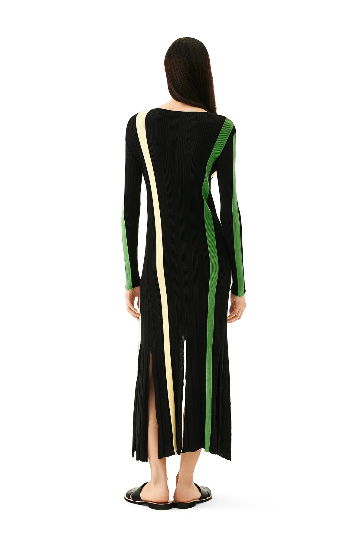 LOEWE Stripe Rib Knit Dress Yellow/Black front