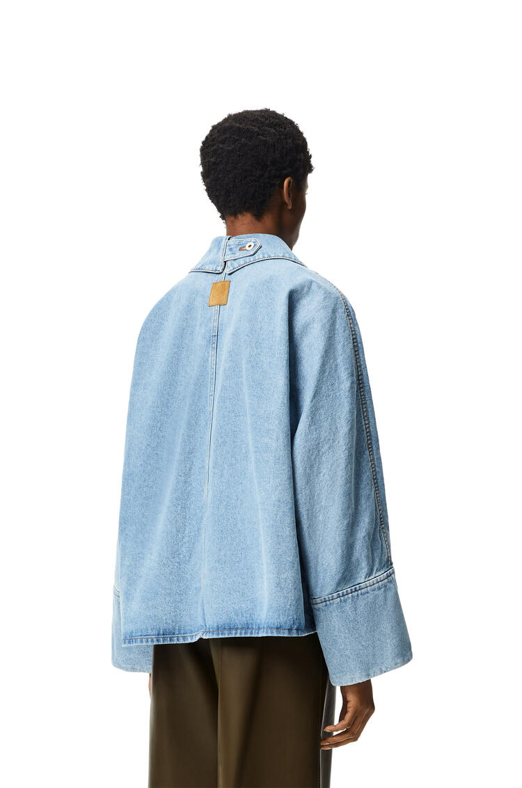 LOEWE Oversize button jacket in stone washed denim Light Blue pdp_rd
