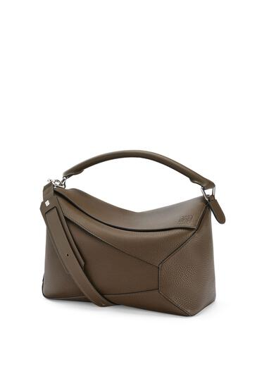 LOEWE Large Puzzle Edge bag in grained calfskin Khaki Brown pdp_rd