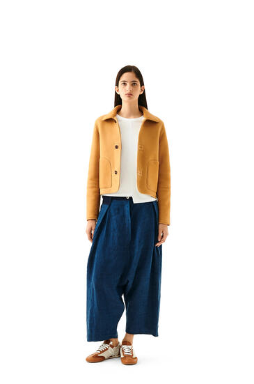 LOEWE Shearling button jacket in novack Gold/White pdp_rd