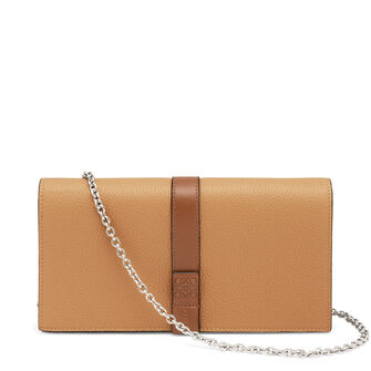 LOEWE Wallet On Chain Light Caramel/Pecan Color  front