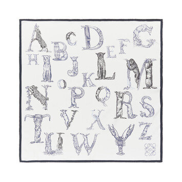 LOEWE 90X90 Scarf Alphabet White front