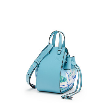 LOEWE Mini Hammock Drawstring Bag In Classic Calfskin And Waterlily Canvas Light Blue/Aqua front
