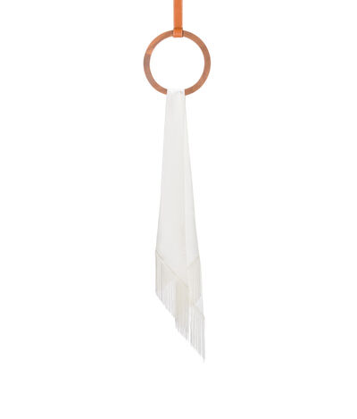 LOEWE 26X176 Scarf Lavaliere Fringes White front