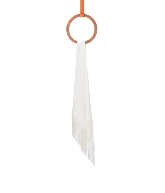 LOEWE 26X176 Scarf Lavaliere Fringes Blanco front