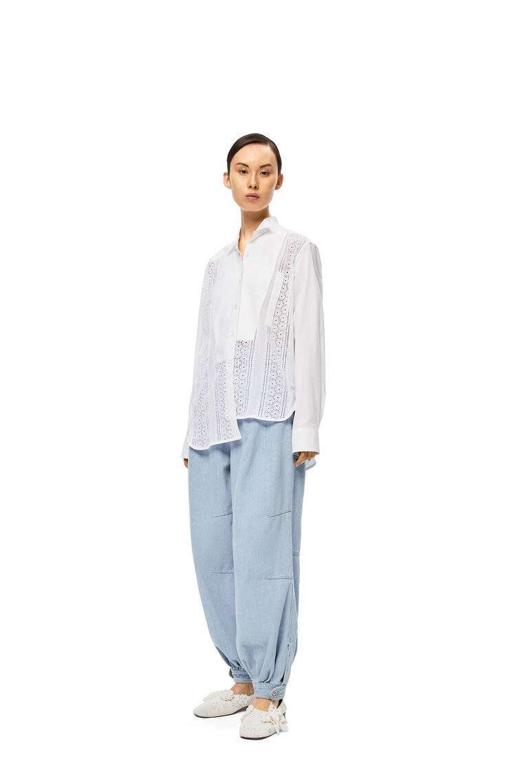 LOEWE Lace Asymmetric Oversize Shirt In Cotton White pdp_rd