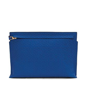 LOEWE T Pouch Repeat Electric Blue front