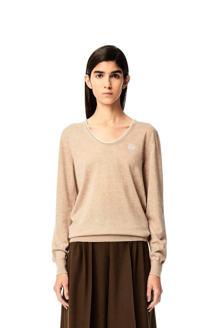 LOEWE Anagram embroidered U neck sweater in cashmere Beige Mist pdp_rd