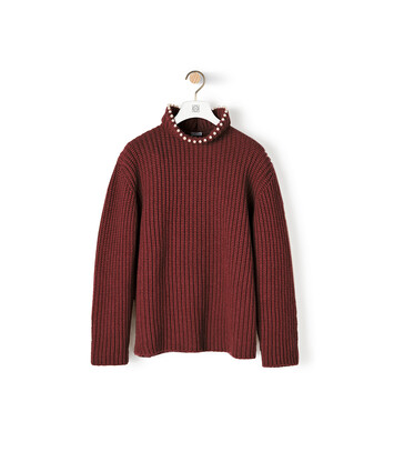 LOEWE High Neck Sweater Pearls Burdeos front