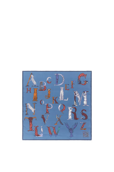 LOEWE 90 x 90cm alphabet scarf in silk Blue pdp_rd