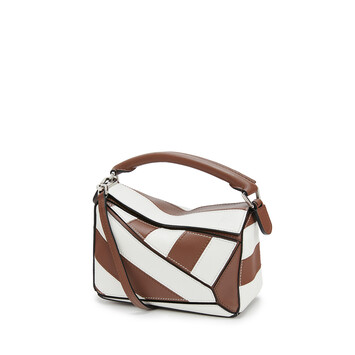 LOEWE Bolso Puzzle Rugby Mini Brunette/Blanco Suave front