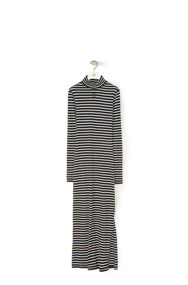LOEWE ハイ ネック ジャージー ドレス(ストライプ コットン) Ecru/Black pdp_rd
