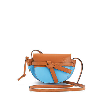 LOEWE Gate Colour Block Mini Bag Tan/Sky Blue front