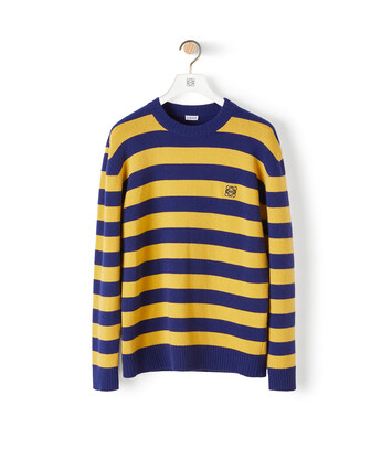 LOEWE Anagram Stripe Sweater Navy/Yellow front