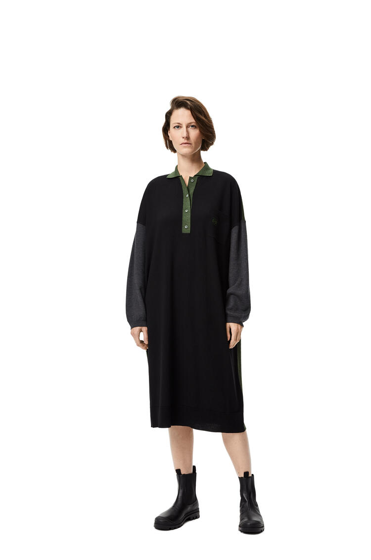 LOEWE Anagram embroidered oversize polo collar dress in wool Black/Khaki Green pdp_rd