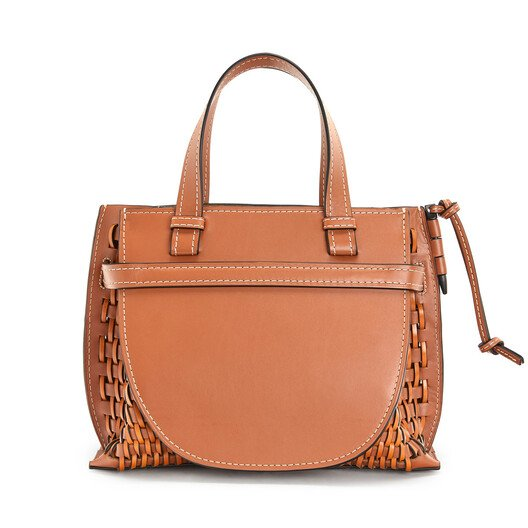 LOEWE Gate Top Handle Woven Small Tan front