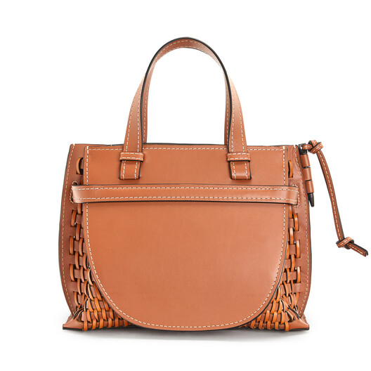 LOEWE Gate Top Handle Woven Small タン front