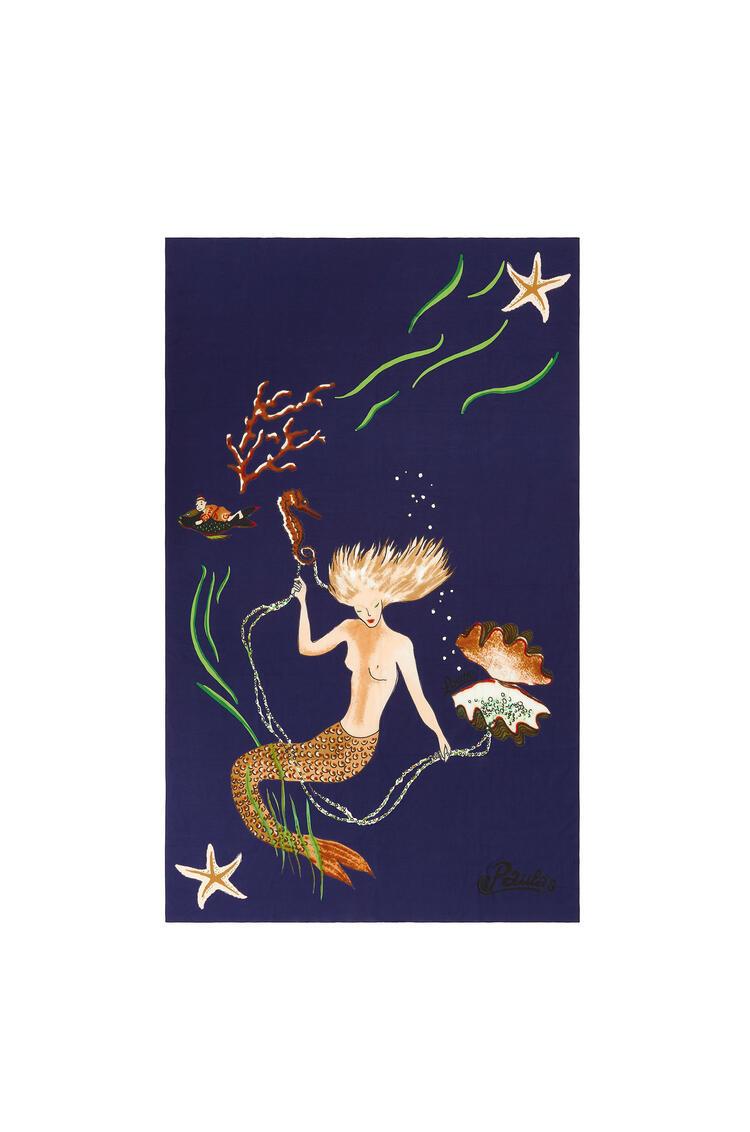 LOEWE 110cm X 170cm Pareo In Mermaid Cotton Blue Klein pdp_rd