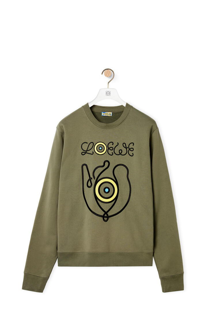 LOEWE Embroidered sweatshirt in cotton Old Military Green pdp_rd