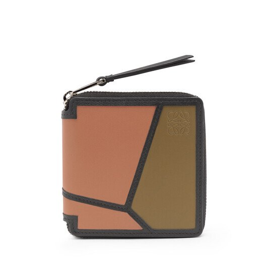 LOEWE Puzzle Square Zip Wallet Pink Tulip/Mocca front