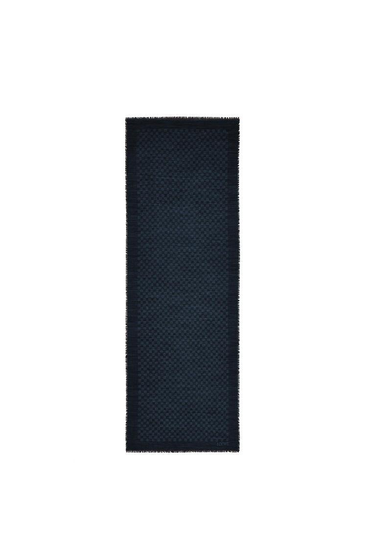 LOEWE Anagram scarf in wool and silk Dark Blue pdp_rd