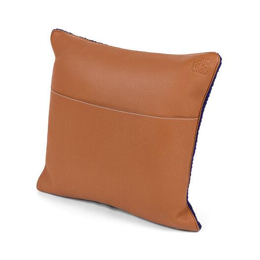 LOEWE Hand Knitted Cushion 7 40X40 ブルー/レッド all