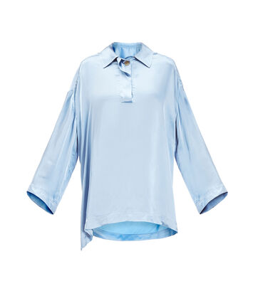 LOEWE Satin Oversize Poloneck Top Light Blue front