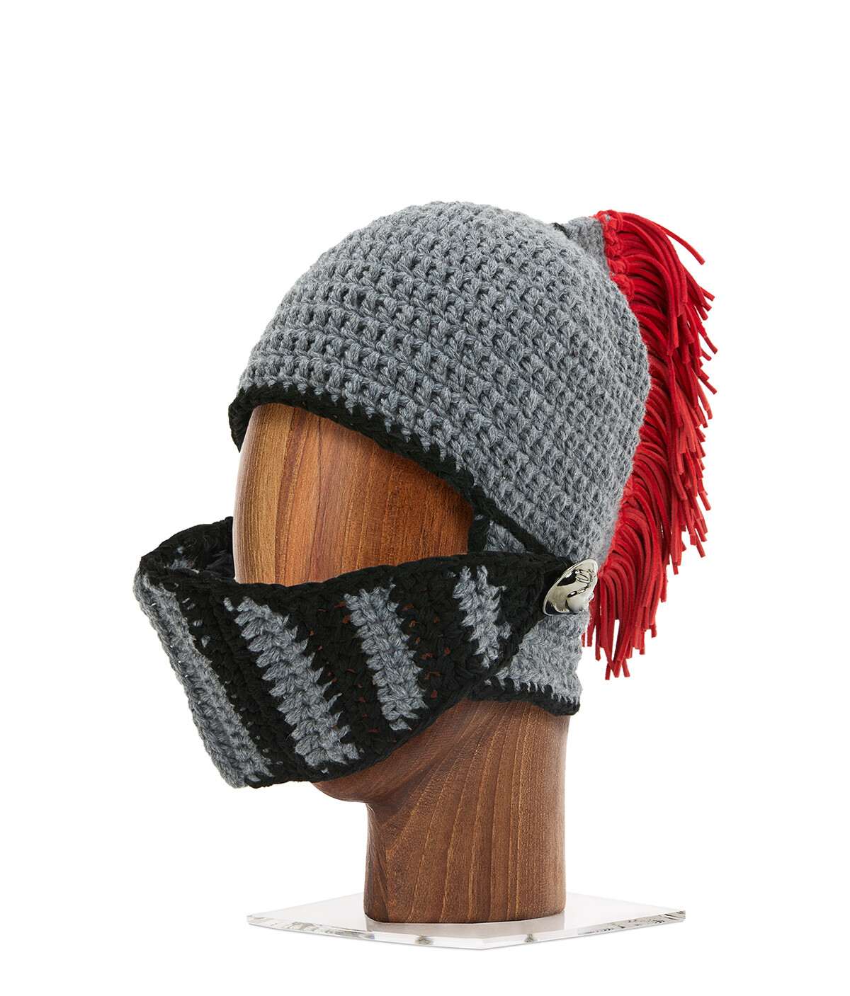 LOEWE Knight Knit Hat Grey/Red front