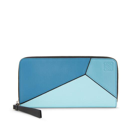 LOEWE Puzzle Zip Around Wallet Blue Multitone front