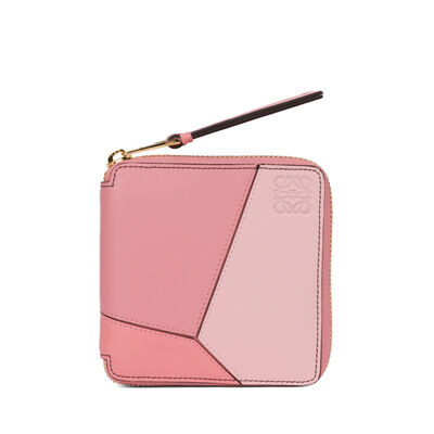 LOEWE Puzzle Square Zip Wallet Soft Pink/Candy/Dark Pink front