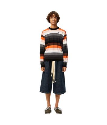 LOEWE Stripe Anagram Sweater Negro/Naranja front