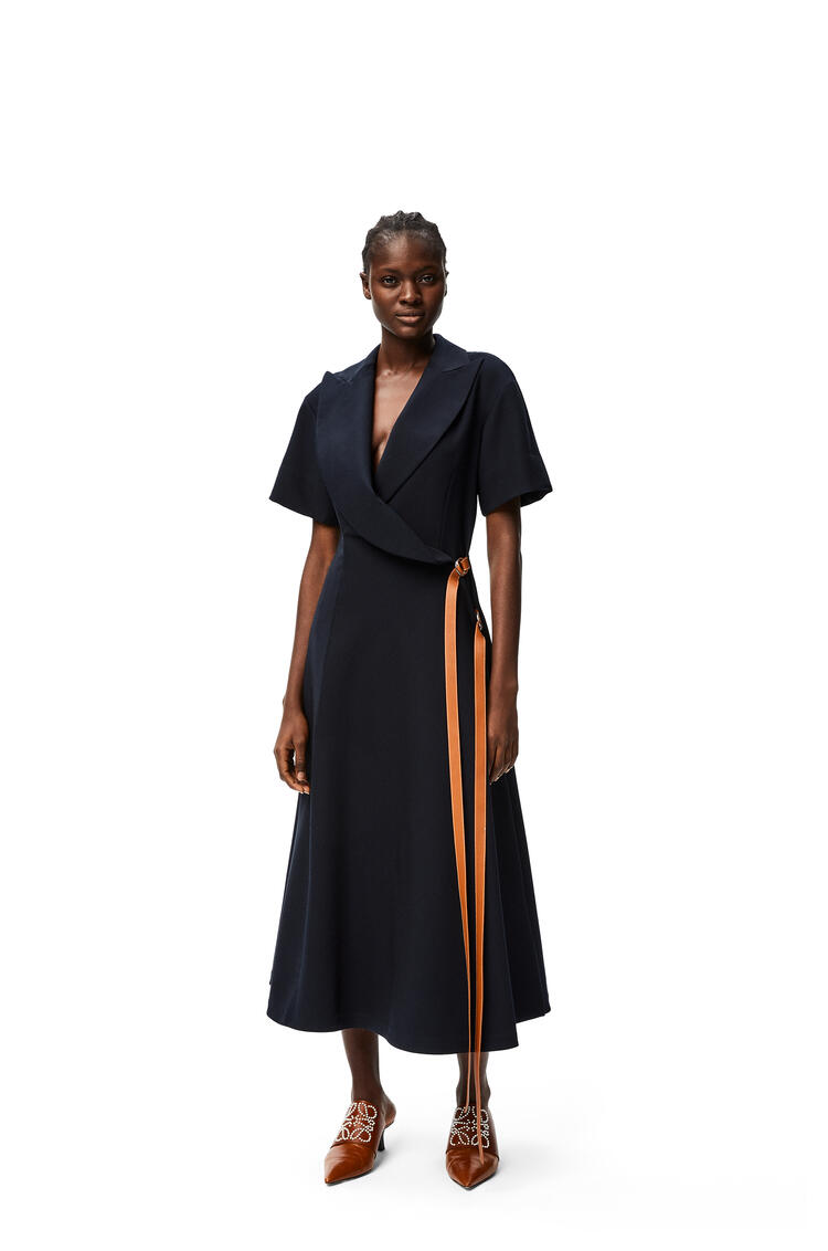 LOEWE Wrap midi dress leather strap in wool Deep Sea Blue pdp_rd