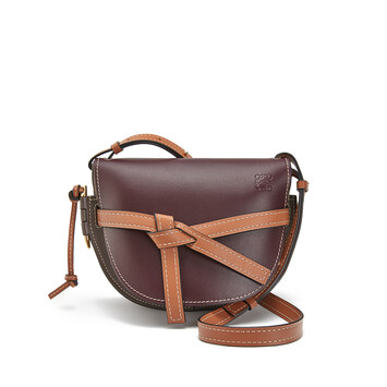 LOEWE ゲートスモールバッグ Oxblood/Taupe front