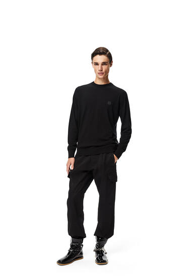 LOEWE Anagram embroidered sweater in wool Black/Grey pdp_rd